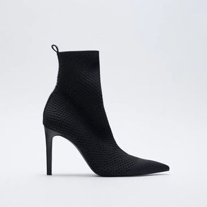 NWT. Zara Fabric Heeled Ankle Boots. Size 7.5